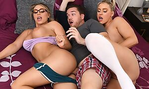 Kyle bangs four astonishing blonde chicks in bed