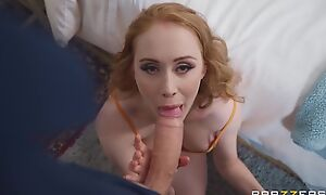 Pale-skinned gal with big boobs serves massive cock