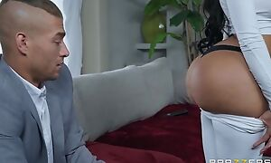 Black-haired bitch with fake interior and irritant fucks Xander in bed
