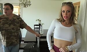 Glamorous blonde chambermaid with fine tits gets screwed in POV