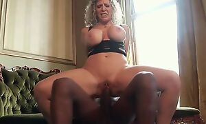 Thick grown-up with renowned melons enjoys riding big funereal cock