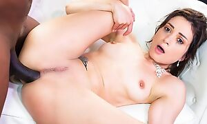 Dark-haired nympho gets brutally fucked by sex-crazed black dude