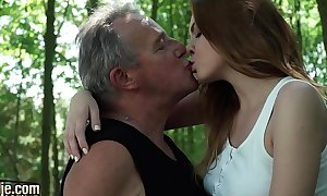 Erotic young redhead pauperize older man and has incredible carnal knowledge in all directions him