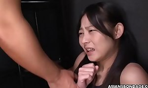 Brunette Asian lass spunked by dudes after cucumber pussy fucked