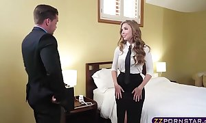 Sex hungry golden-haired air hostess suggests her constricted arse