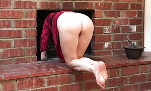 Stepmom gets stuck in the fireplace