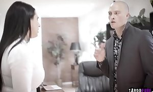 Busty politician Angela White was blackmailed and fucked by this horny businessman Zac Wild.