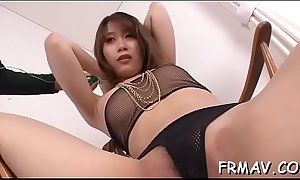 Sweet asian darling gets lusty drilling for her furry cum-hole