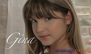 Massage rooms slim diminutive legal age teenager enjoys having taut gap explored