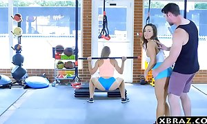 Gym sweethearts with stacked bodies three-some with a coach