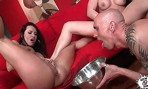 Leche 69 nice-looking women squirting into a bowl