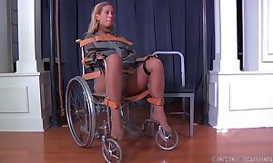 Blonde milf cherie deville fastened gagged in a straitjacket and wheelchair smoke
