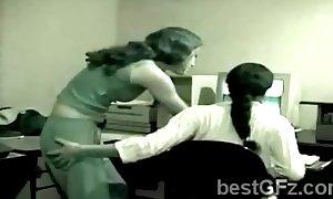 Amateur dark brown hair hair lezzie teases sexy coworker at ...