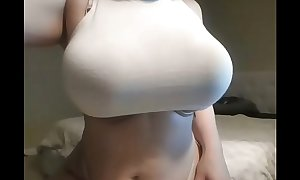 Horny non-professional teasing big booty and love milk cans