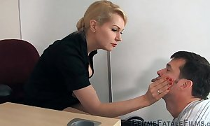My hot boss is a secret domme and mean bit...