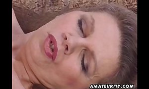 Mature non-professional dilettante amateur dark weenie strumpets toys her butt and acquires anal ...