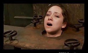 A sub BBC slut bondaged, throatfucked and a clitoris tortured
