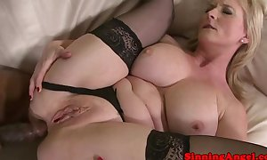 Mature golden-haired fucked right into an anal opening by black meat