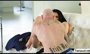 TS Chanel enjoys fucking FTM Bucks pussy