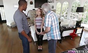Black man bonks small legal age teenager white bitch