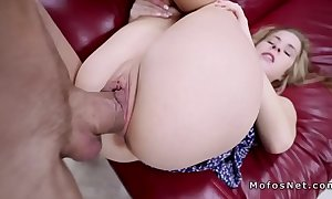 Blonde spinner throatgags massive cock and copulates