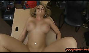 Big tits blond sells her tiara and boned at the pawnshop