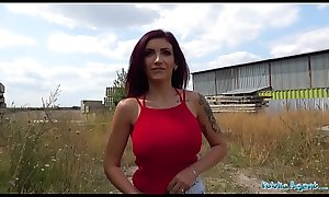 Public Agent Busty big tits and full blowjob lips sexy public fuck