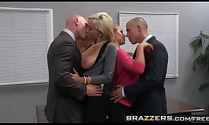 Two busty blondes (Lexi Swallow, Nicole Aniston) get fucked in office 4some - BRAZZERS