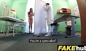 Fake hospital tall brunette hair patient with large natural breasts swallows docs cum