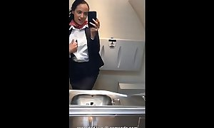 Latina stewardess joins the masturbation mile high club in the latrine and cums