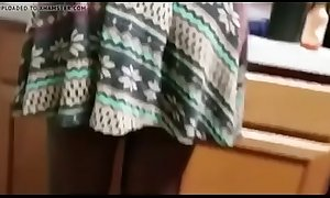Upskirt my ebony Aunty in kitchen